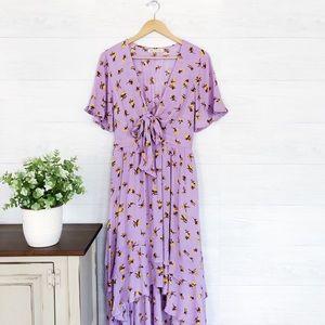 ASOS, Purple Yellow Floral Ruffle Hi Low Dress 649
